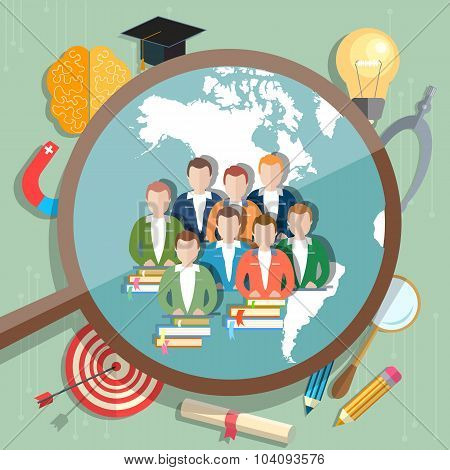 Students And Education Online Concept International Education E-learning College University