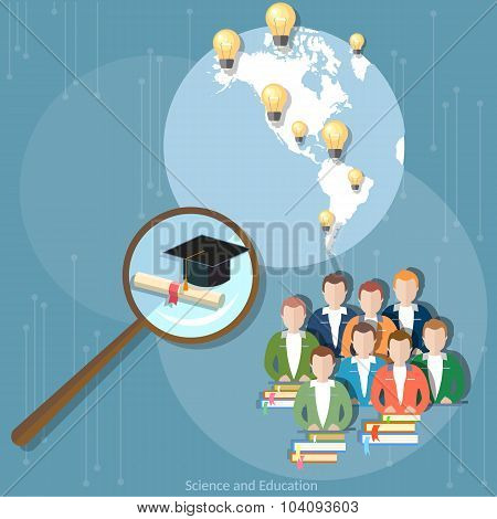Online Education Group Students Diploma Distance Training International Education E-learning Concept