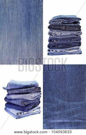 Collage of Jean texture and Stack of blue jean