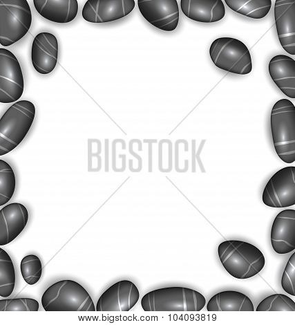 Border Made Sea Pebbles, Copy Space for Your Text