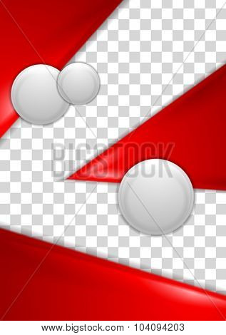Red abstract flyer design with grey circles. Vector background