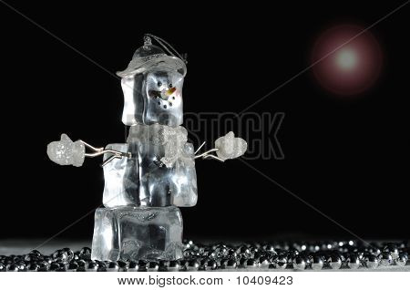 Holiday Snowman Decoration Made Of Ice
