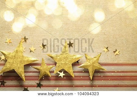 Golden star on paper textured background