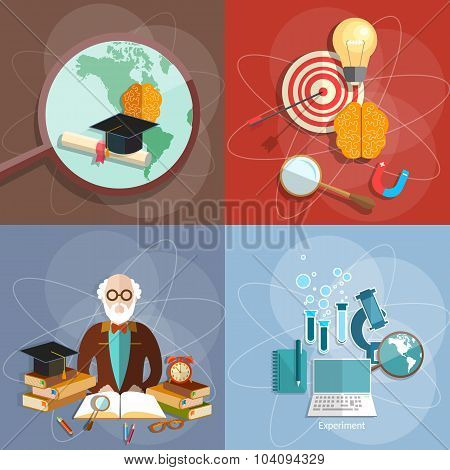 Educational Set Professor Teacher Diploma Online Higher Education E-learning Concept College