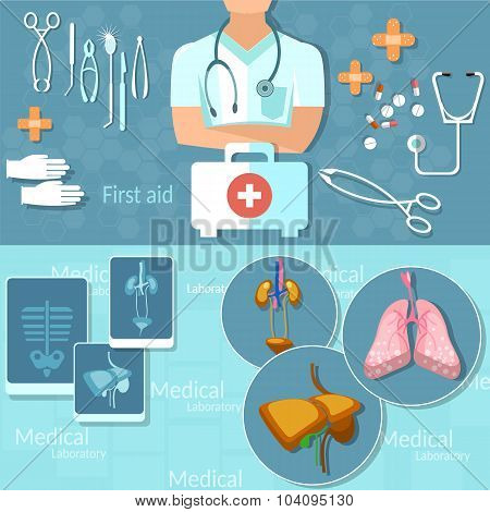 Medicine Doctor Man Medical Hospital Instruments First Aid Kit Surgery X-rays Vector Banners