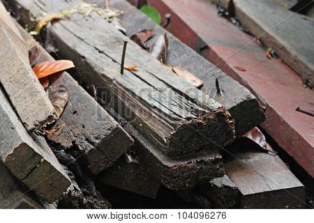 Pile of old wood decay.