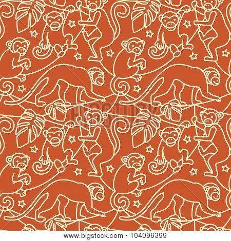 Monkeys Seamless Pattern