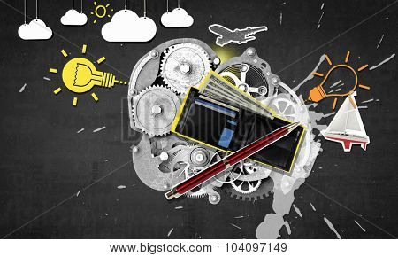Collage image with wallet and gear mechanism