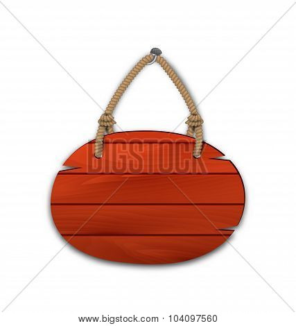 Round wooden billboard with rope hanging on a nail