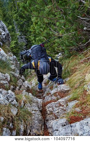 Climber On Mountain