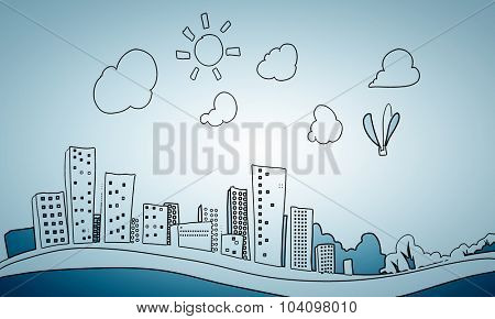 Construction conceptual image with modern city sketch