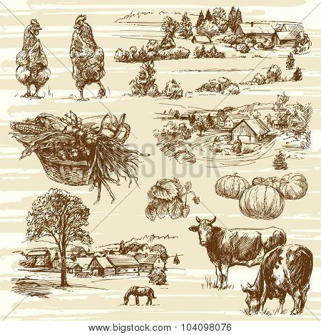 farm, harvest, rural landscape - hand drawn set