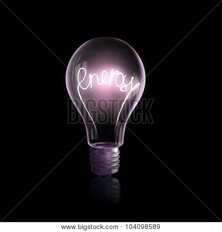 Glass light bulb with symbol inside on black background
