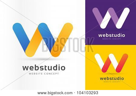 W letter vector. W logo icon template. W symbol silhouette. W isolated icon, W line letter logo, W logotype, W logo, W modern logo, Wave logo. W company logo brand name. Monogram W icon