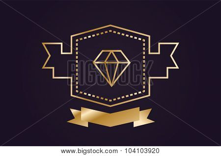 Monogram old diamond logo. Diamond icon object. Vintage retro style diamond. Jewelry label ribbons decor ornament. Premium quality. Diamond logo. Retro style. Royal, crown, lawyer, hotel, brand