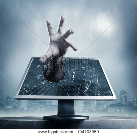 Human hand from computer screen