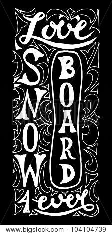 Snowboard With Hand Drawn Typography Poster