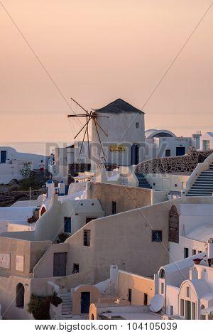 Sunset in Town of Oia, Santorini, Tira Island, Cyclades