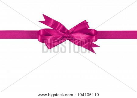 Shocking Pink Gift Ribbon Bow Isolated On White Background Straight Horizontal