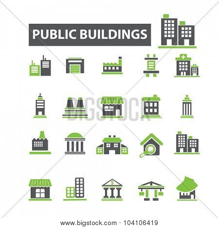 public, administrative buildings icons