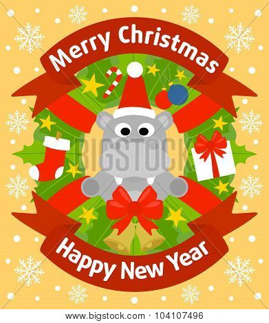 Christmas and New Year background with hippopotamus