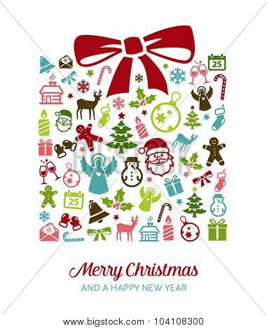 Christmas greetings card  - background with holiday icons.
