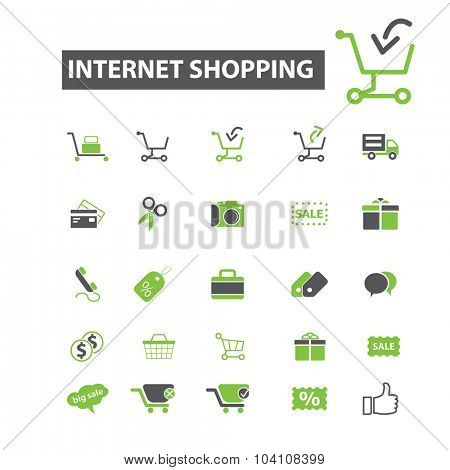internet shopping, sales, retail icons