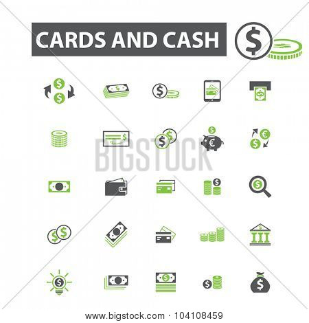 money, cards, cash payment icons