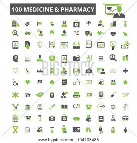 100 medicine, pharmacy icons