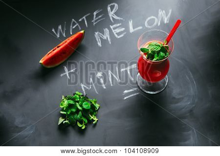 Watermelon Cocktail With Mint On Coated Board From The Inscription