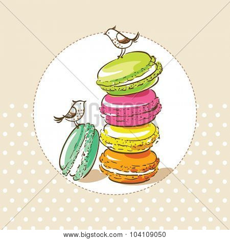 card with birds and french dessert macaroons
