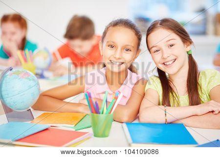 Friendly schoolgirls looking at camera in school