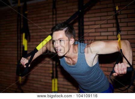 Young man in activewear doing exercises for arm muscles