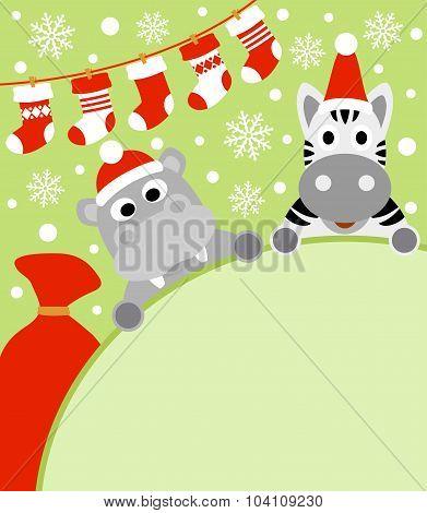 New Year background with hippopotamus and zebra