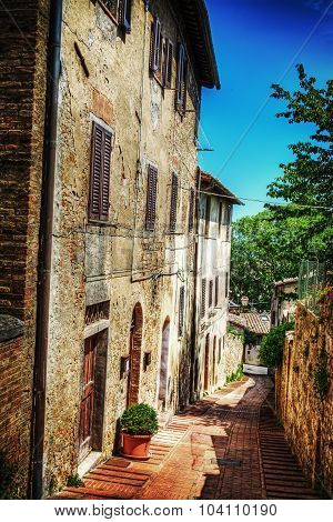 Typical Corner Of San Gimignano In Hdr