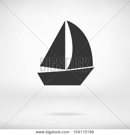 Sail Boat Icon Isolated