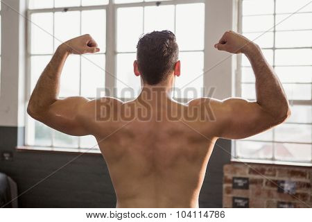 Rear view of muscular man flexing at the gym