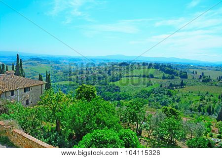 Landscape Of San Gimignano Surrounding Area
