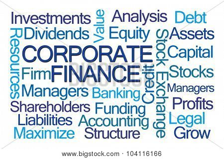 Corporate Finance Word Cloud on White Background