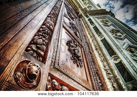Close Up Of Santa Croce Front Door In Florence