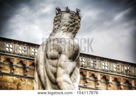Back View Of Neptune Statue In Piazza Della Signoria In Florence