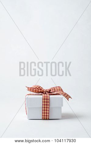 Small White Gift Box With Gingham Checked Ribbon