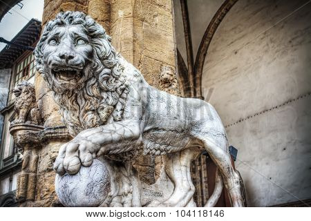 Front View Of A Lion In Loggia Dei Lanzi In Florence