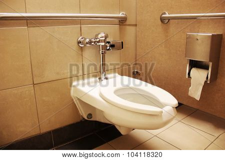 Clean bathroom with beige walls