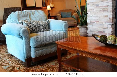 Large overstuffed armchair