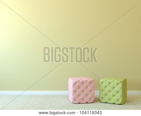 Two Poufs Near Empty Wall.
