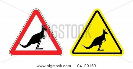 Warning Sign Of Attention Kangaroo. Hazard Yellow Sign Jumping Marsupials. Silhouette Australian Bea