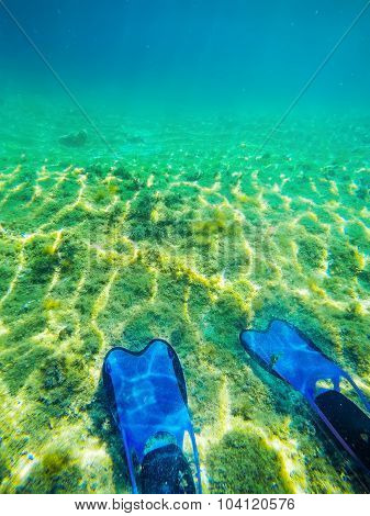 Scuba Fins And Sea Floor In Alghero