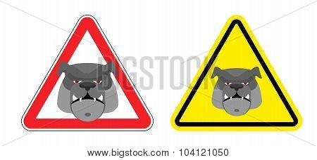 Warning Sign Attention Dog. Hazard Yellow Sign A Pet. Head Bulldog On Red Triangle. Set Road Signs.