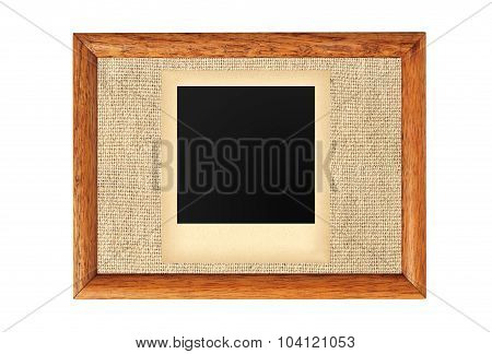 Wooden Frame With Blank Old Photo Isolated On White